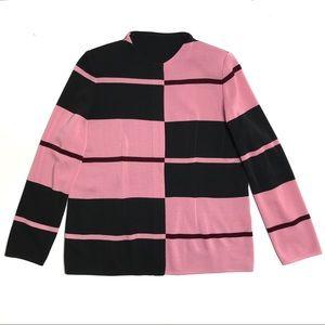 Misook Color Blocked Zip Front Cardigan Pink Black